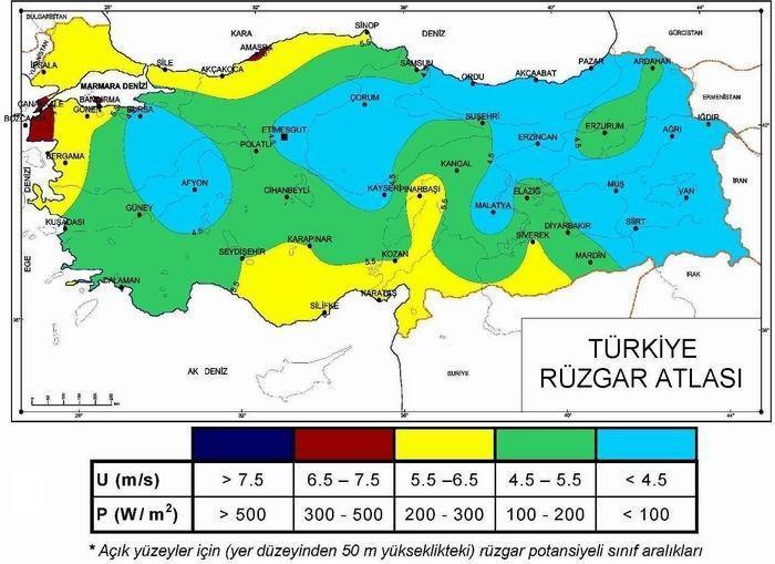 Çanakkale Rüzgar Haritası